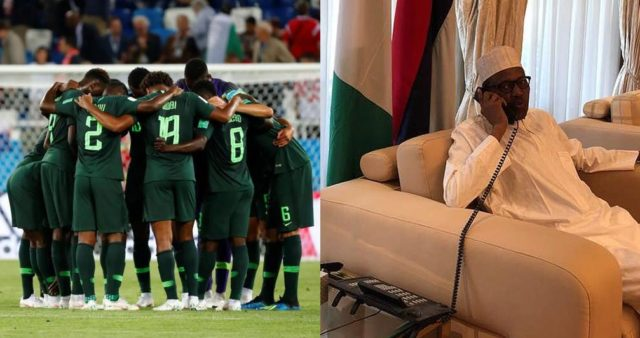 Russia 2018: The Moment President Buhari Called Super Eagles On Phone Before Croatia Loss