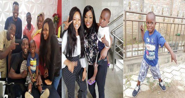 Funke Akindele Comedian AY meet with little Taju in Ibadan