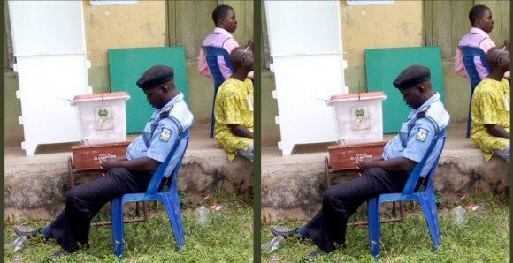 Ekiti 2018 Election: Policeman Sleeping While Watching Over Ballot Box