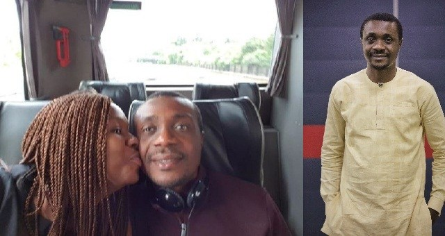 """Gospel Singer, Nathaniel Bassey, who is renowned for staging a viral social media fellowship session called #Halleluyahchallenge, has shared a photo showing his wife giving him a peck on the chick. Sharing the picture, Nathaniel Bassey warned people not to try out what he and his wife did in the picture if they are not married. Read his post below ; """"So on our way to Coventry, She steals a peck from a """"Holy Man Of God�""""���. But don't try this if you are not married o…�.This lady right here is my miracle and testimony. If Satan had his way, this should not happen. Few weeks back, Satan thought He had the last card. But little did He know the Strong Tower was yet to declare His intentions. And His intention is that we live to fulfill our days. She doesn't even look like someone who went through the fire.there isn't even a scent of smoke on her. I prophesy to you right now, every storm comes to an end now in Jesus' name. You'll pass through that fire unhurt, without a trace or scent of smoke in Jesus' name."""""""