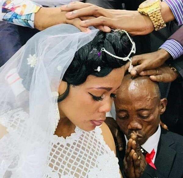 Bride looks unhappy at her wedding