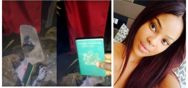 Nigerian lady burns passport