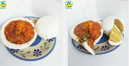 Check out this amazing cake that looks just like Egusi and pounded yam