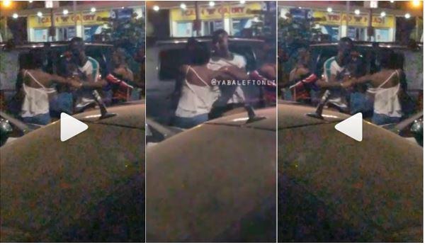 man beats up lady, tears her bra