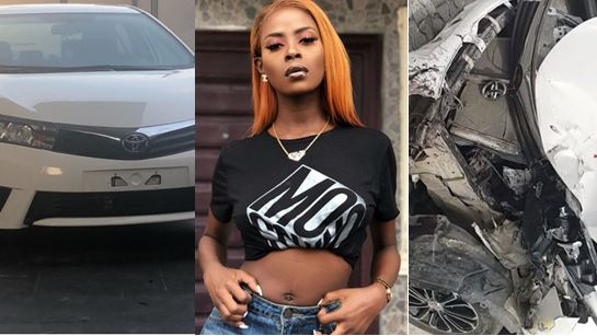 BBNaija Khloe survives ghastly accident as she crashes car Obafemi Martins gave to her