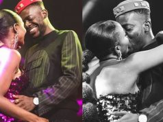 photo of Adekunle Gold and Simi kissing
