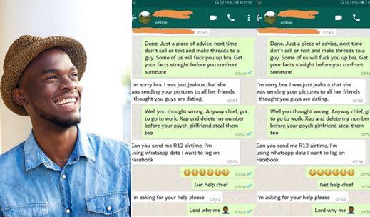 Read This Hilarious Conversation Between A Jealous Boyfriend And His Girlfriend's Crush (Screenshots)