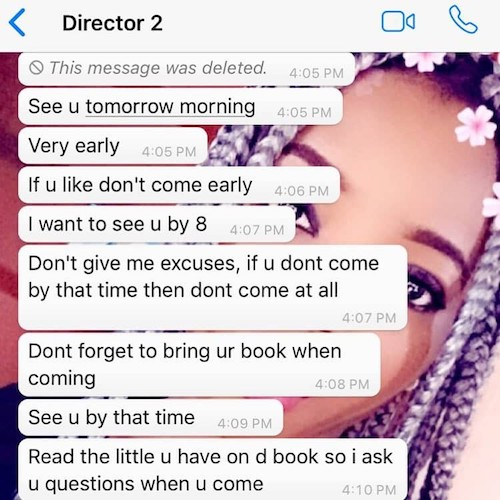 Stella Clifford Whatsapp Chat with Director for sex