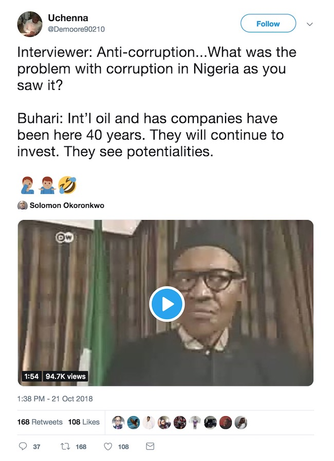 Video posted online has gotten Twitter users angry at Buhari