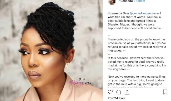 Ifu Ennada knocks out DeeOne on her Instagram post
