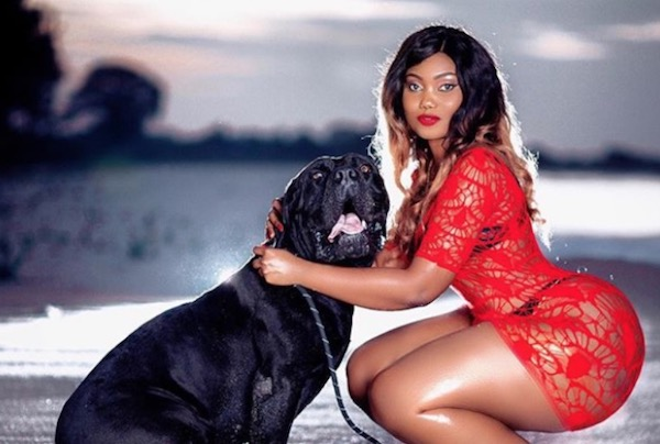 Sanchi with a dog for photoshoot