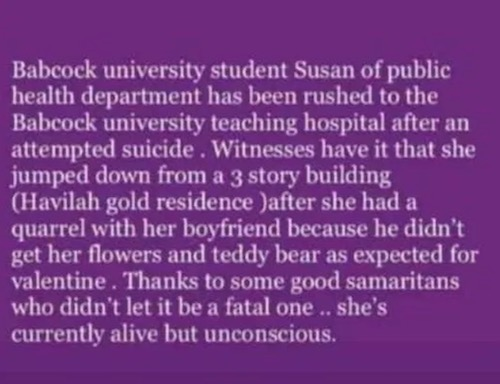 Babcock student tries suicide