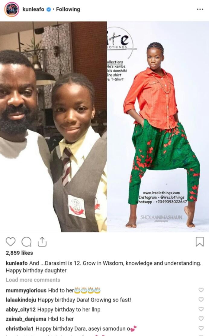 Kunle Afolayan celebates Daughter