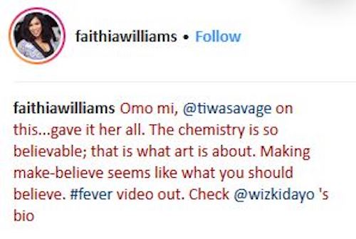 Faithia Williams post about Wizkid and Tiwa Savage Fever video