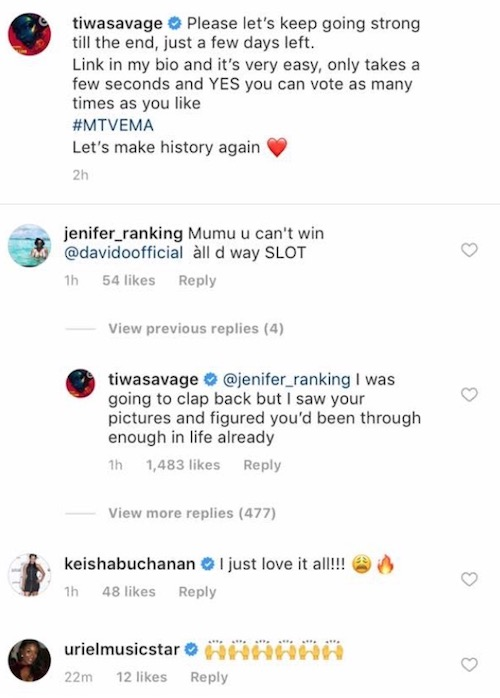 Tiwa Savage bashes a fan