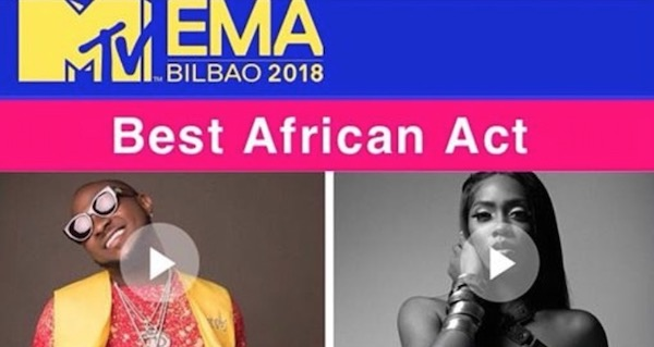 Tiwa Savage posts MTV's EMABest African Act flyer