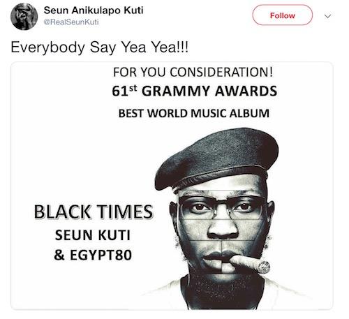 Seun Kuti post on Twitter about Grammy Awards nomination