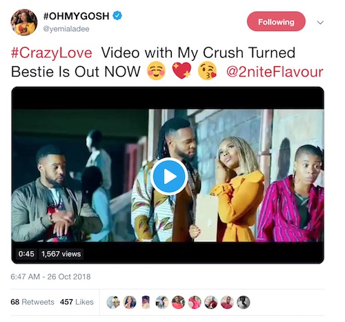 Yemi Alade tweets about crazy love video with Flavour