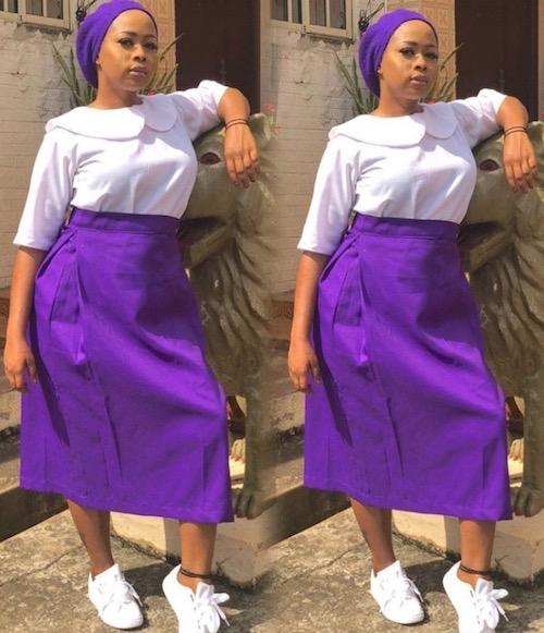 Olori Badirat Olaitan Ajoke Adeyemi, Queen of Oyo Kingdom dressed in secondary school uniform