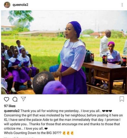 Olori Badirat Olaitan Ajoke Adeyemi post on Instagram about secondary school girl sexually abused by neighbour