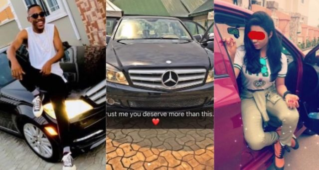 Guy catches his GF inside a guy's Benz