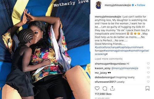 Mercy Johnson kisses daughter - Instagram