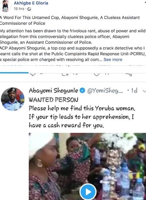 Akhigbe E Gloria insults ACP Yomi Shogunle on Facebook