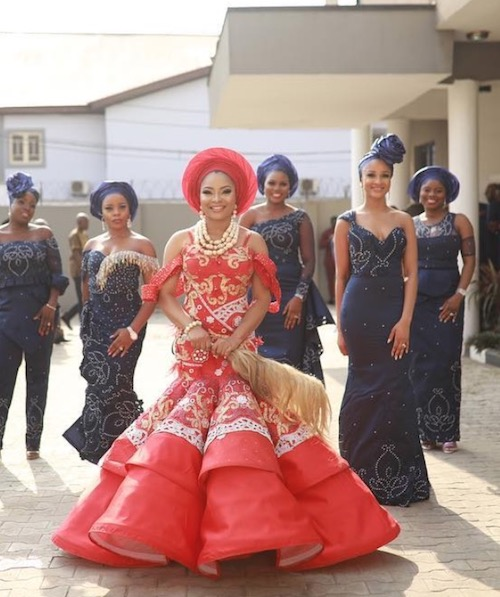 Linda Ejiofor and her bridesmaid on her wedding day