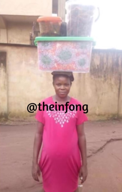 Photos of woman who sells decorated Abacha - pregnant