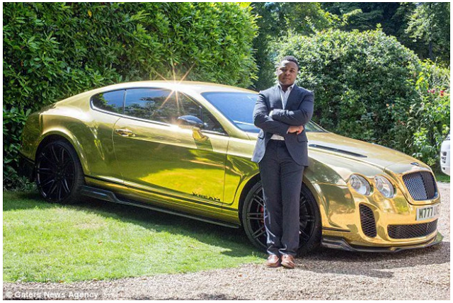 16 yr old millionaire with gold Bentley