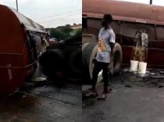 Loaded Tanker falls on Otedola Bridge on Lagos/Ibadan Expressway (Video)
