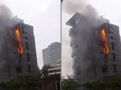 Unity Bank head office currently on fire