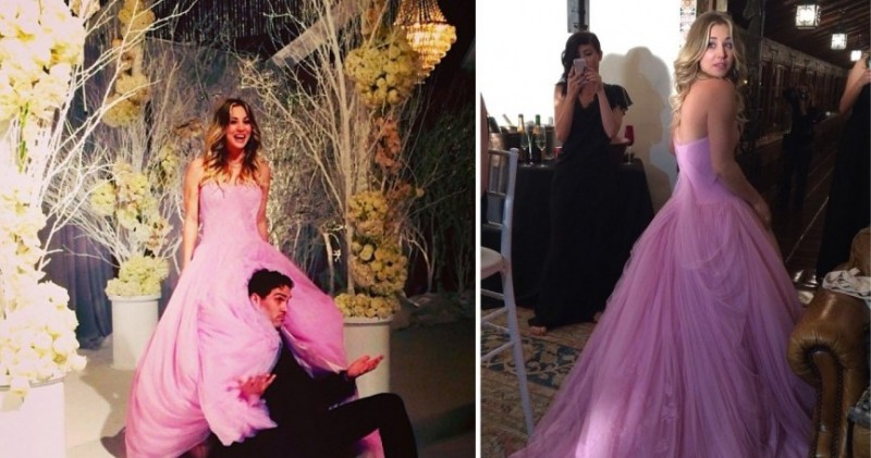 kaley-cuoco-wearing-pink-vera-wang-wedding-gown