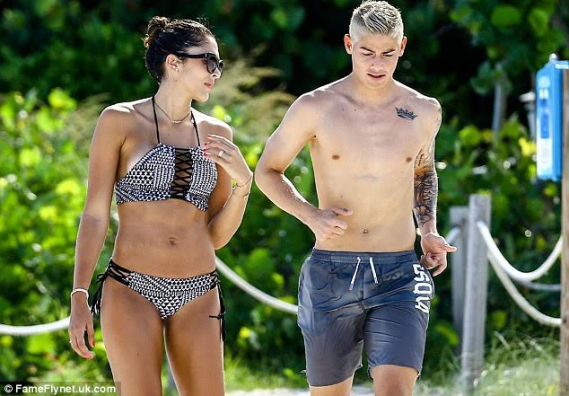 real madrid footballer james rodriguez and beautiful wife